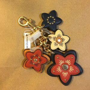 NWT COACH WILD FLOWER MIX LEATHER BAG CHARM KEYFOB